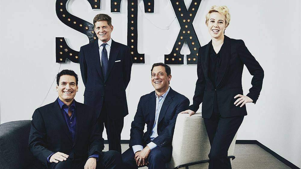 Photograph by Terence Patrick STX Entertainment executives, Oren Aviv, Robert Simonds, Adam Fogelson, Sophie Watts