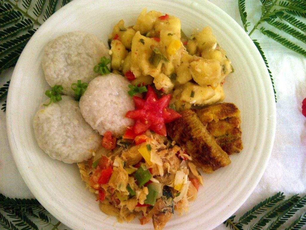 Stewed Saltfish with Spicy Plantains and Coconut Dumplings